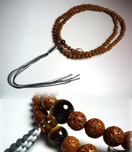 男性用お数珠 金剛菩提樹 虎目石仕立て 薄茶紐房