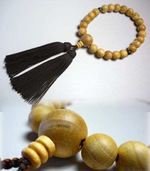 男性用のお数珠 松22玉 茶水晶2点仕立て