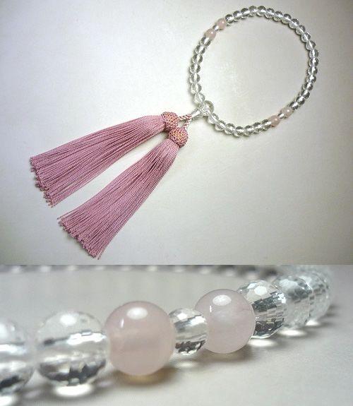 女性用のお数珠 水晶108面切子紅石英4点仕立て 薄紅藤房