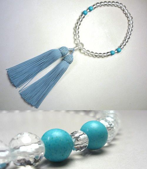 女性用のお数珠 水晶108面切子 トルコ石4点仕立て 忘草房