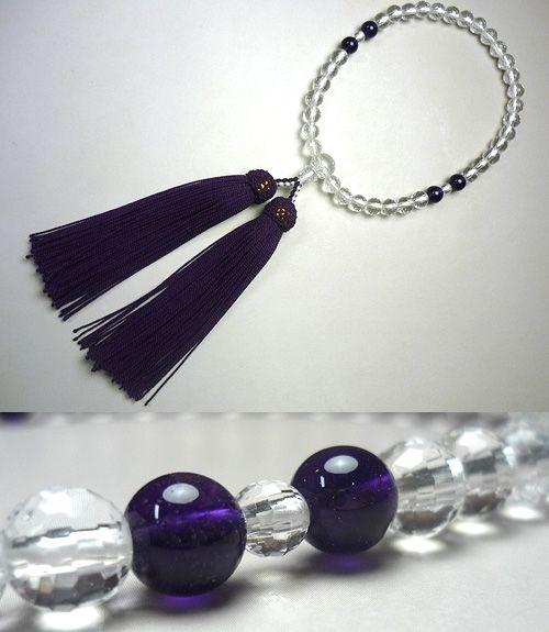 女性用のお数珠 水晶108面切子 紫水晶4点仕立て 薄古代紫房