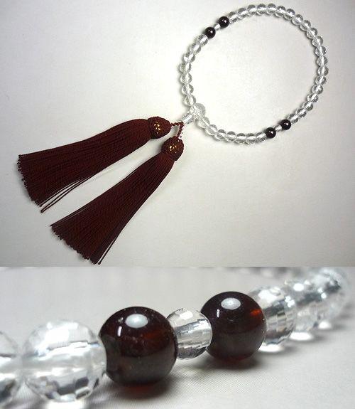 女性用のお数珠 水晶108面切子 ガーネット4点仕立て エンジ房