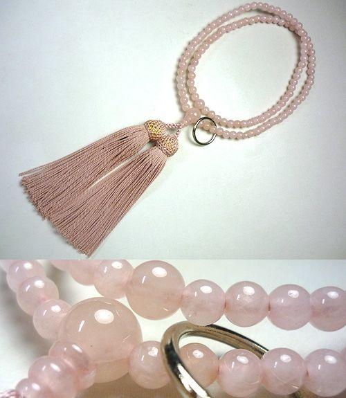 女性用のお数珠 紅石英 曹洞宗 共仕立て 灰桜房