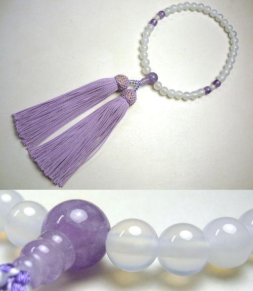 女性用のお数珠 白瑪瑙 藤雲石4点仕立て 藤房