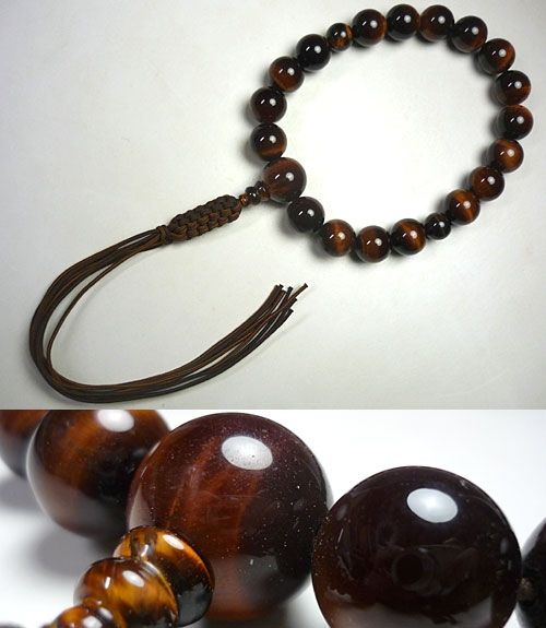 男性用のお数珠 赤虎目石 18玉 共仕立て