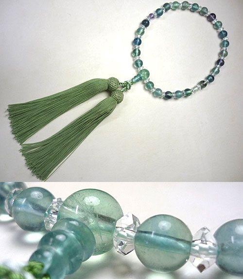 女性用のお数珠 蛍石(フローライト) 水晶切子コンビ仕立て 若竹房