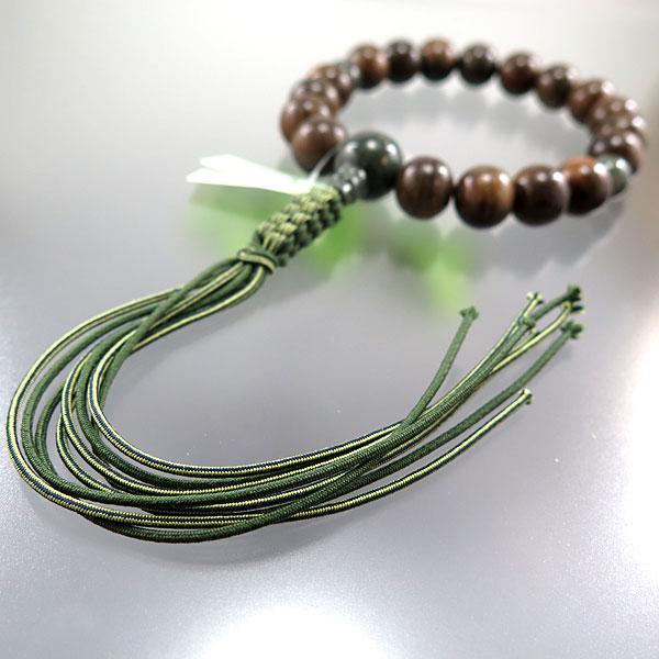 男性用数珠 緑檀 18玉 緑紋石仕立て 紐房