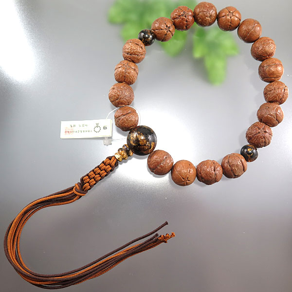 [10%OFFセール開催中] 男性用数珠 佛眼菩提樹 星型 18玉 虎琥珀仕立て