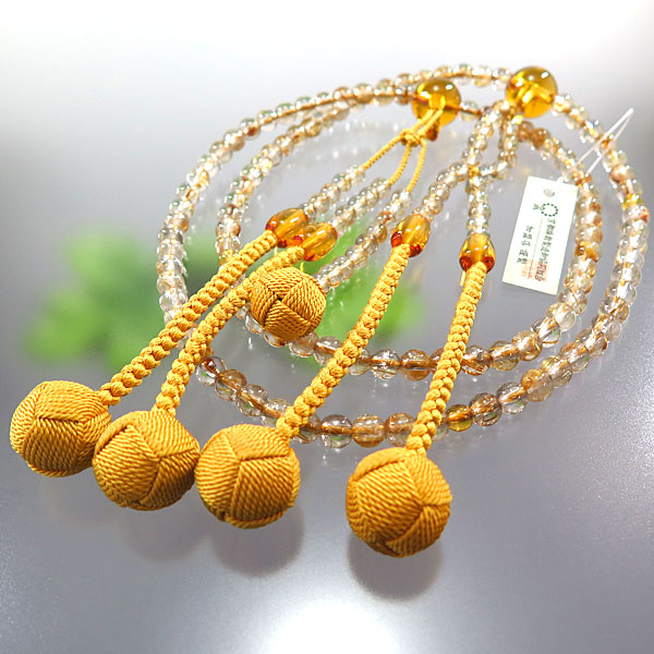 男性用数珠 日蓮宗 ルチル 尺 二双半法華 黄水晶仕立て 限定品
