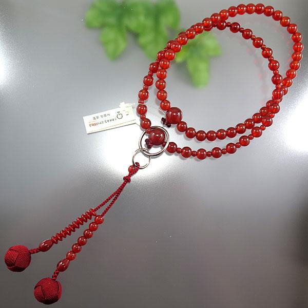 女性用お数珠 瑪瑙 九寸 浄土宗 共仕立て エンジ房