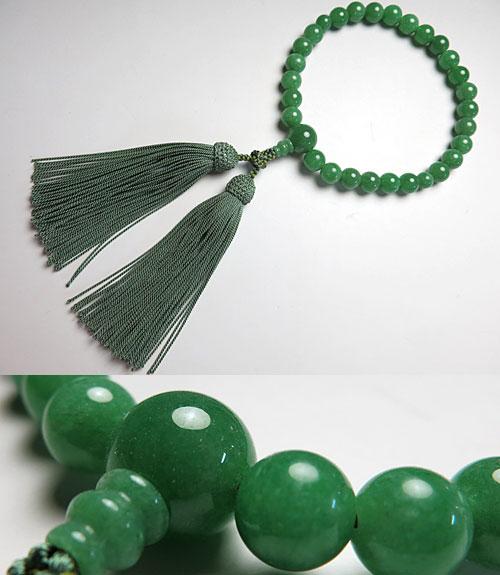 男性用のお数珠 インド翡翠 27玉 共仕立て【数珠】【念珠】【インド翡翠】