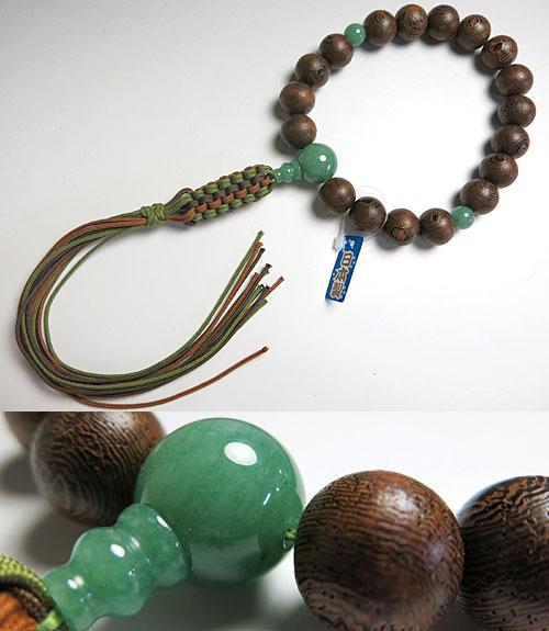 男性用のお数珠 鉄刀木 18玉 インド翡翠仕立て 紐房 浄土真宗用【数珠】【念珠】【浄土真宗】【送料無料】