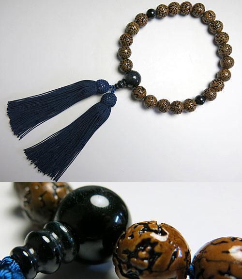 男性用のお数珠無量金剛菩提樹22玉青虎目石仕立て【数珠】【念珠】【菩提樹】【青虎目石】