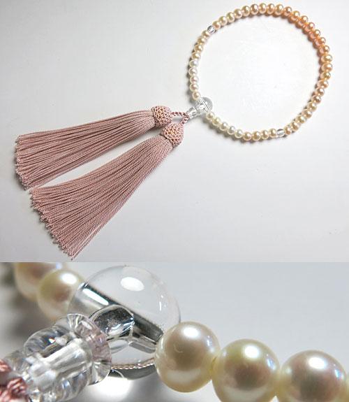 女性用のお数珠 淡水真珠 ポテト型 グラデーション 水晶仕立て 灰桜房【数珠】【念珠】【真珠】