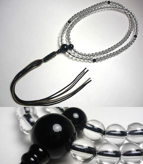 男性用のお数珠 水晶 ブラックオニキス仕立て 臨済宗 薄茶・焦茶房