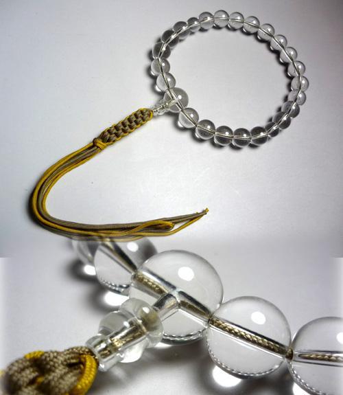 男性用のお数珠 水晶 打紐薄茶金茶8本出し 共仕立て