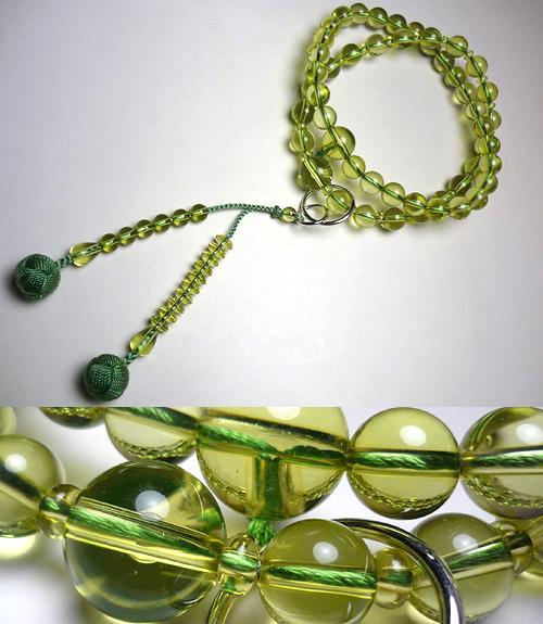 【ポイント10倍&お香プレゼント中】 男性用のお数珠 グリーン琥珀 共仕立て 浄土宗 砥草房