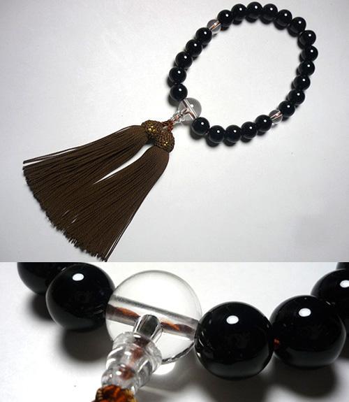 男性用のお数珠 ブラックオニキス 水晶仕立て 薄茶房