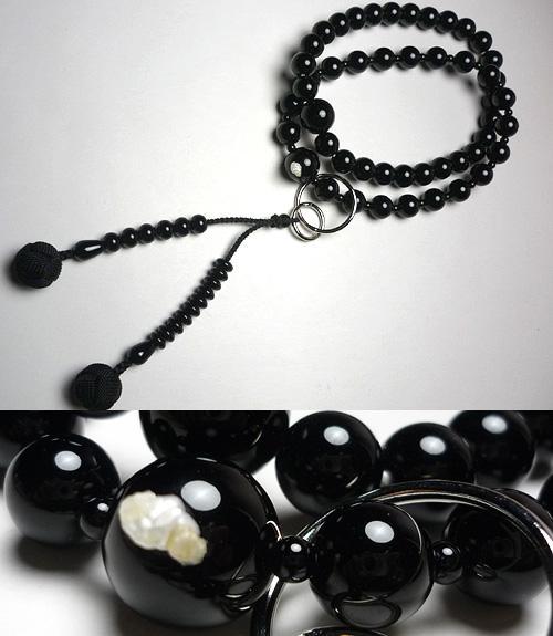 男性用のお数珠 ブラックオニキス 共仕立て 浄土宗 黒房