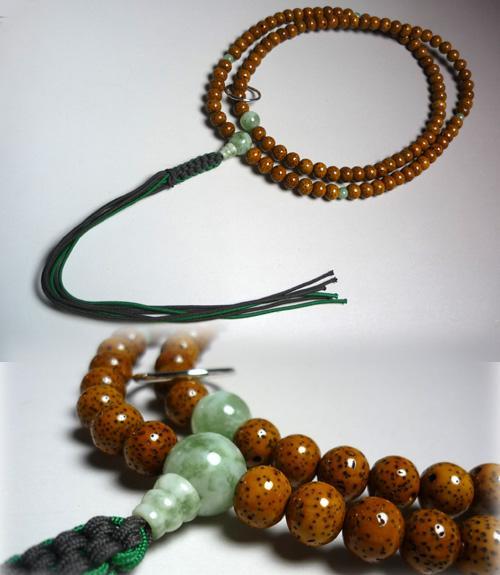 男性用のお数珠 古色星月菩提樹 華翡翠仕立て 曹洞宗