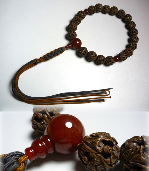 [10%OFFセール開催中] 男性用のお数珠 羅漢彫り 瑪瑙仕立て