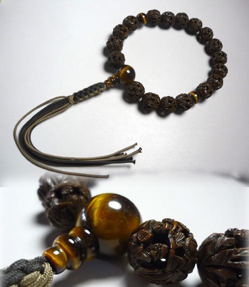 男性用のお数珠 羅漢彫り 虎目石仕立て