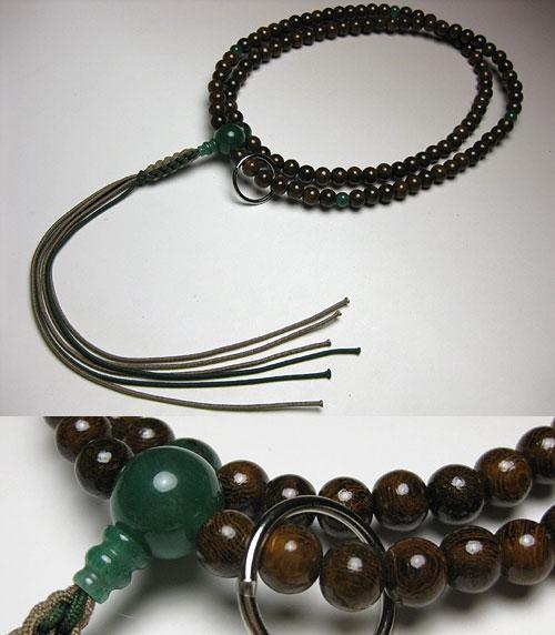男性用のお数珠 鉄刀木印度翡翠仕立 曹洞宗