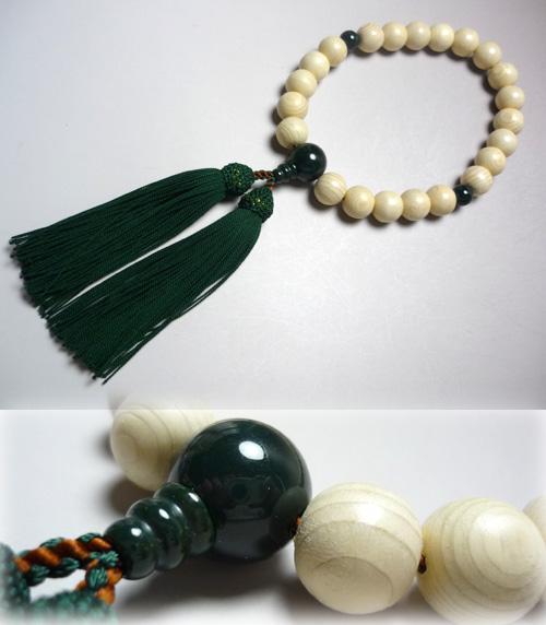 男性用のお数珠 木曽檜22玉 ブラッドストーン仕立て