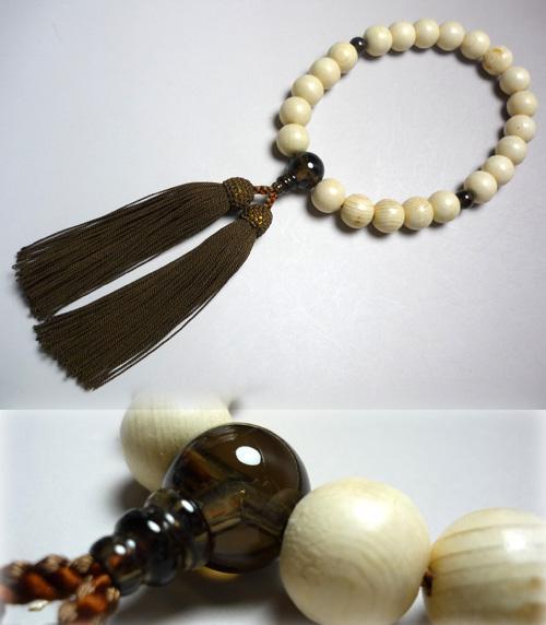 男性用のお数珠 木曽檜22玉 茶水晶仕立て