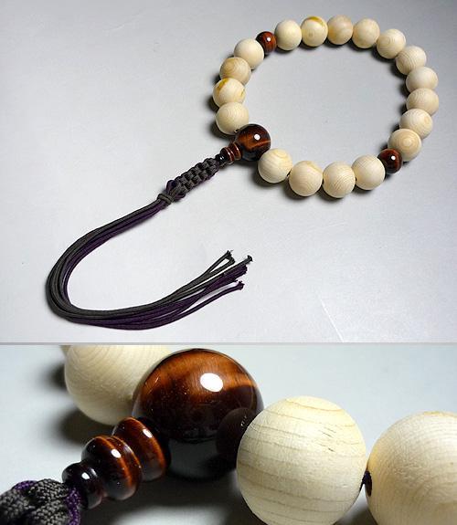 男性用のお数珠 木曽檜18玉 赤虎目石仕立て