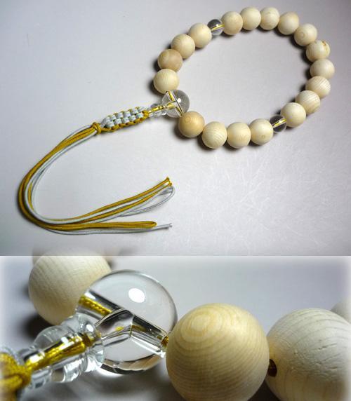 男性用のお数珠 木曽檜18玉 水晶仕立て