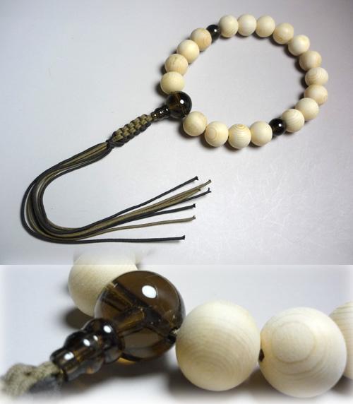 男性用のお数珠 木曽檜18玉 茶水晶仕立て