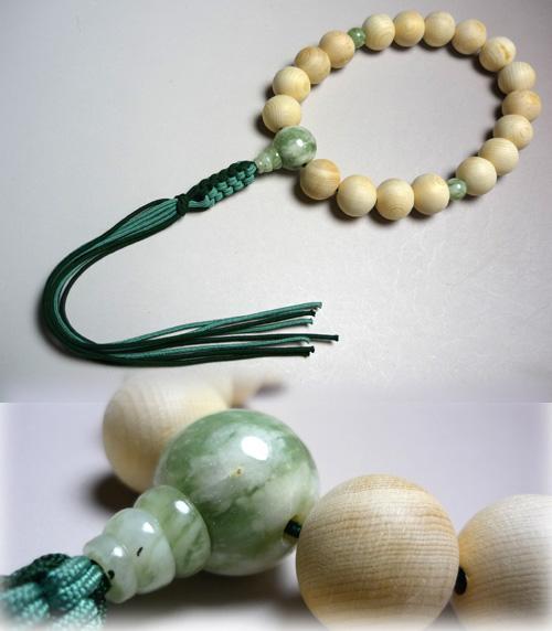 男性用のお数珠 木曽檜18玉 華翡翠仕立て