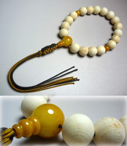 男性用のお数珠 木曽檜18玉 イエロージャスパー仕立て