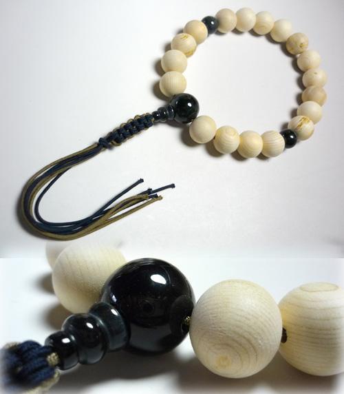 【ポイント10倍&お香プレゼント中】 男性用のお数珠 木曽檜18玉 青虎目石仕立て