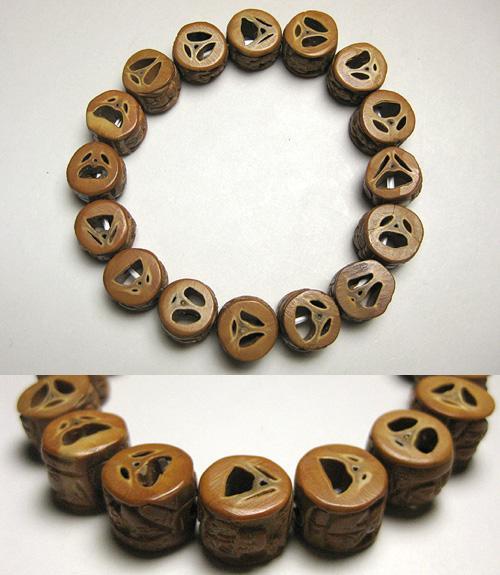 オリーブ楽割(ラクワリ)羅漢彫り 腕輪