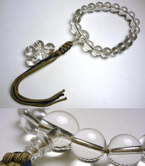 子供用のお数珠 水晶 共仕立て 【男の子向き】