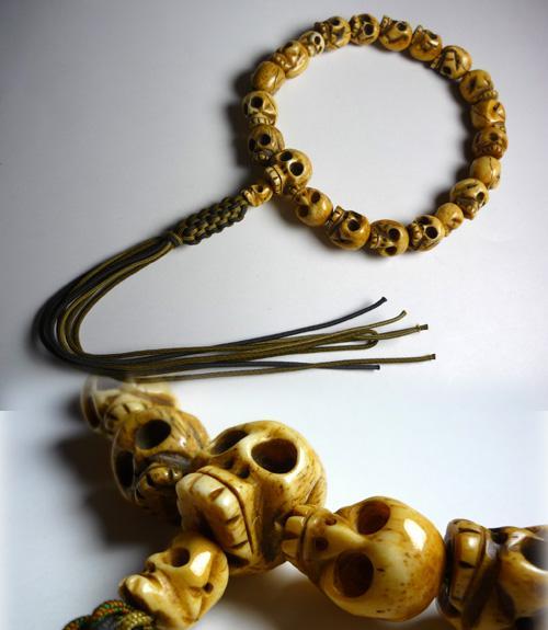 男性用のお数珠 牛骨 骸骨彫り 18玉 共仕立て