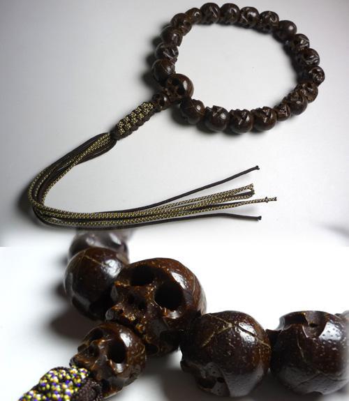 男性用のお数珠 星月菩提樹 髑髏彫り18玉 共仕立て
