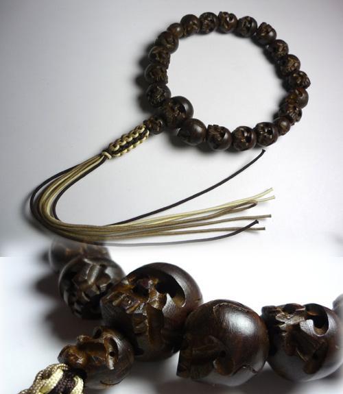 男性用のお数珠 麻利木(ブライヤー)18玉 髑髏彫り 共仕立て
