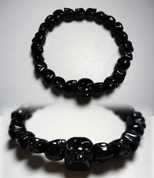[10%OFFセール開催中] ブラックオニキス スケルトン(髑髏彫り)腕輪