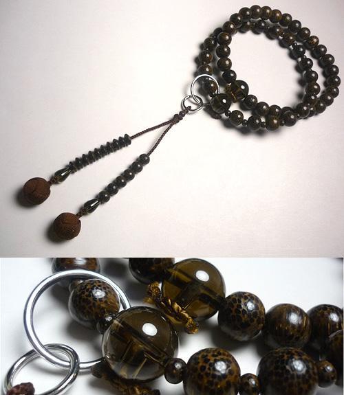 男性用のお数珠 ビンロウ樹 茶水晶仕立て 浄土宗 こげ茶房