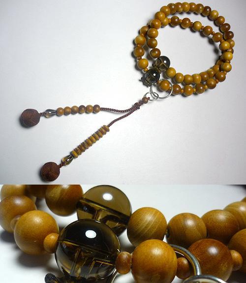 男性用のお数珠 白檀(インド産) 茶水晶仕立て 浄土宗 焦茶房