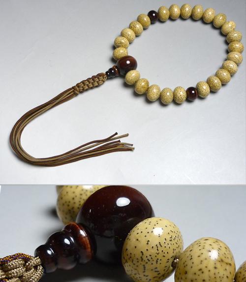 男性用のお数珠海南島星月菩提樹平玉24玉赤虎目石みかん玉仕立て紐房