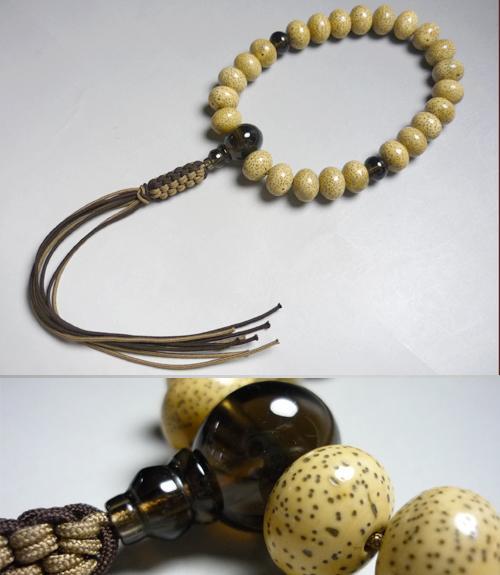 男性用のお数珠海南島星月菩提樹平玉24玉茶水晶みかん玉仕立て紐房