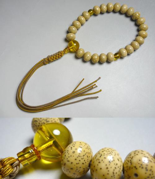 男性用のお数珠海南島星月菩提樹平玉24玉琥珀18mm玉仕立て紐房