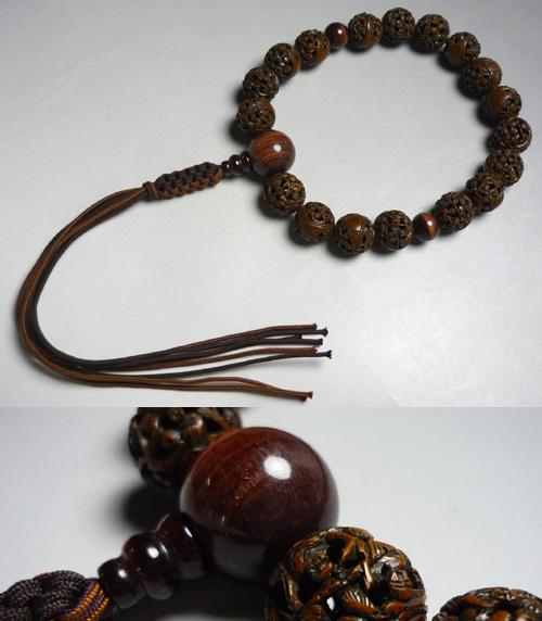 男性用のお数珠インド龍眼菩提樹羅漢彫り18玉赤虎目仕立て紐房