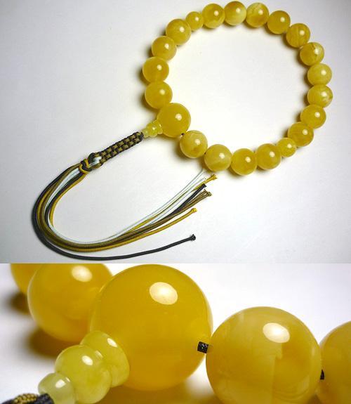 男性用のお数珠 乳珀 18玉 共仕立て