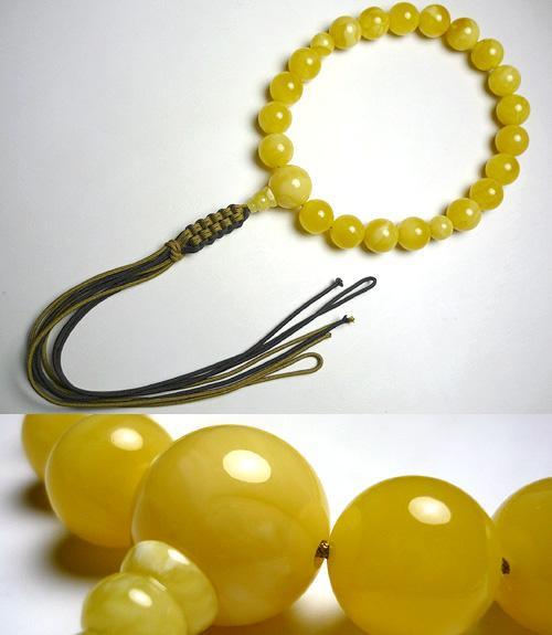 男性用のお数珠 乳珀 20玉 共仕立て