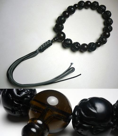 男性用お数珠 ドイツ琥珀十二支彫り 茶水晶仕立て